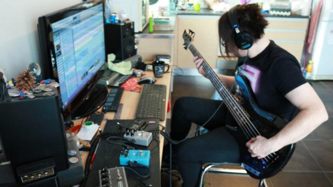 Lyncelia Recording Bass Tracks March 2018